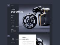 Superbike website lotus ux ui dark blue motorcycle psd magazine web sketch