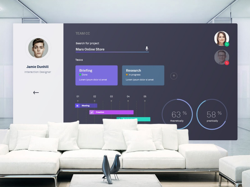 Meetingscreen display meeting dark dashboard psd sketch design ux interface ui living screen