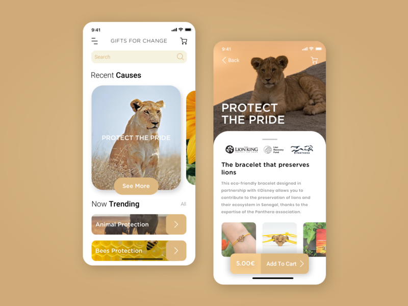 Concept App - Gifts For Change lion brand gold ux uidesign ui mobile ui mobile app appdesign app
