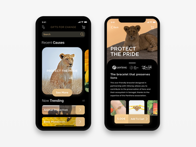 Concept App - Gifts For Change - Dark Mode uidesign ui mobile ui mobile app lion dark dark mode black gold brand appdesign app