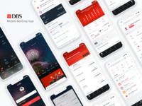 DBS Digibank ios app design black  white black red light mobile ui mobile app design financial banking mobile app
