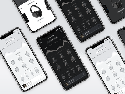 Wireless Headphone Companion App audio player knobs equalizer ui light dark grey
