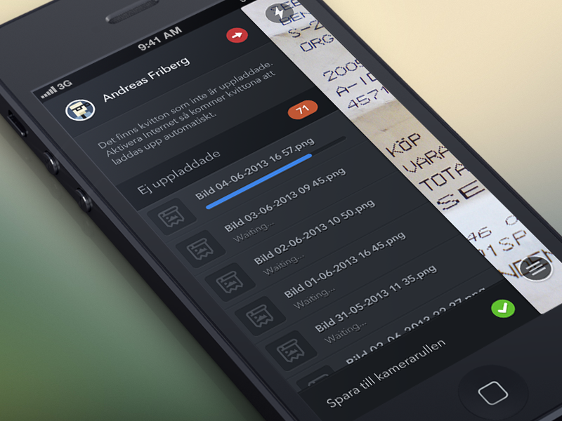 Ej Uppladdade side menu iphone app dark grey almost flat upload list