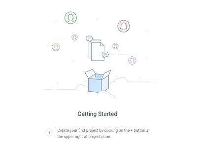 Getting Started webapp blank slate onboarding icons illustration