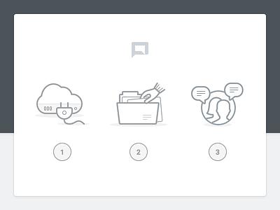 Features light grey web app illustration