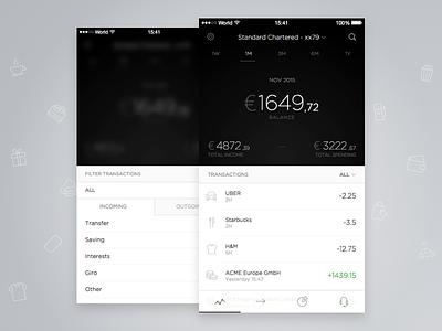 Account Overview overview light dark grey black iphone app