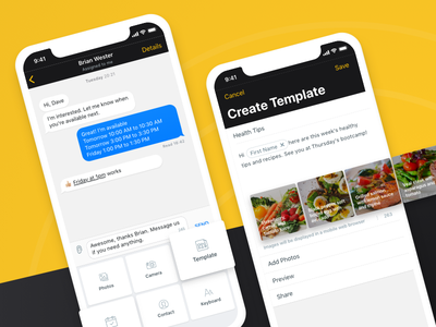 Chat and template black yellow business messaging ios app chat screen heymarket