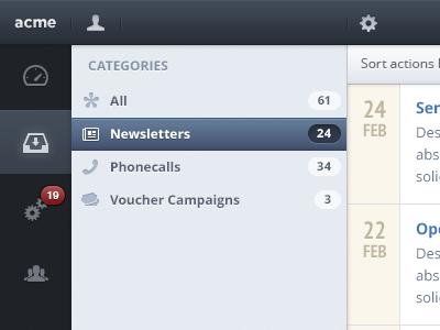 Action list ui web app sourcelist sidebar purple grey yellow badge
