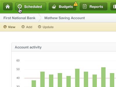 Account Activity navigation web app chart green yellow white breadcrumb