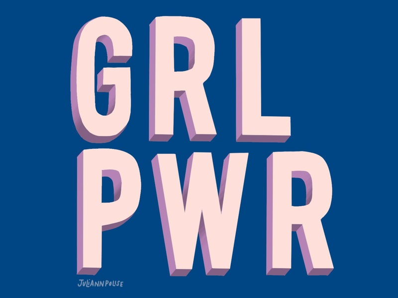 GRL PWR design typography illustration hand lettering