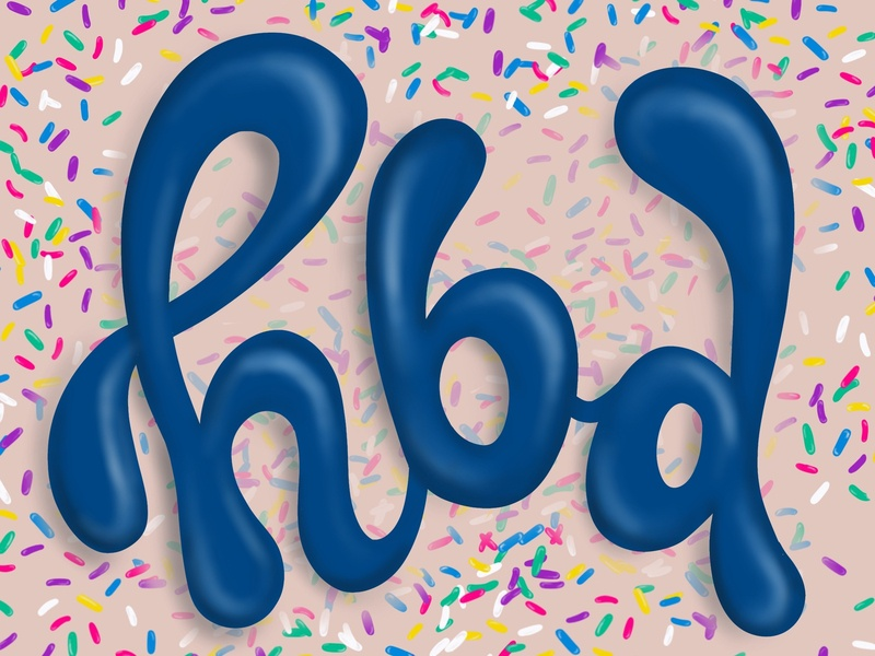 HBD design illustration branding typography hand lettering