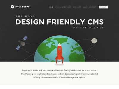 Page Puppet Home ui website globe planet earth rocket moon cms