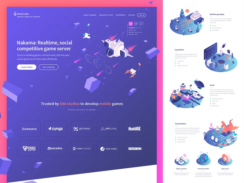 Heroic Labs website 2020 games game spaceship rocket design web design web vector icons ui website illustration