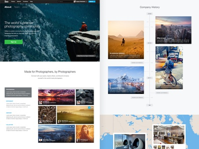 500px About page 500px timeline ui photography