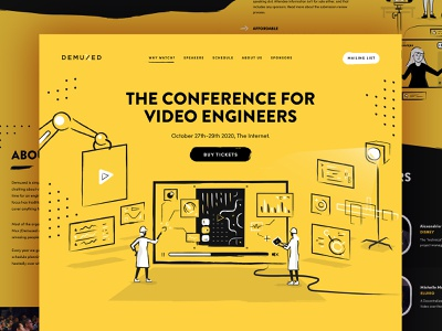 Demuxed conference 2020 hand drawn website vector illustration web design demuxed conference