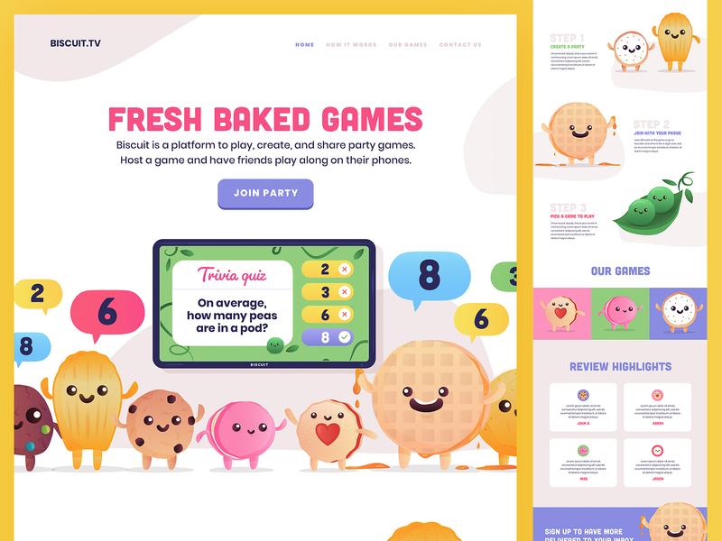Biscuit TV alternative design brand identity macaroon cookie biscuit web design branding vector logo website illustration