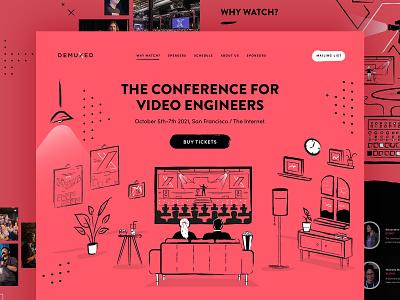Demuxed conference 2021 web design conference vector website illustration