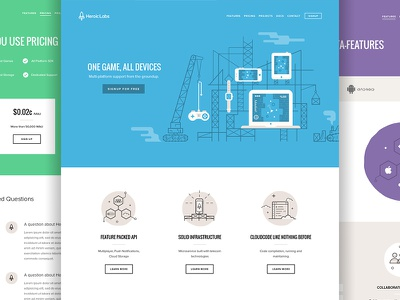 Heroic Labs Website devices game games icons illustration marketing website heroic labs