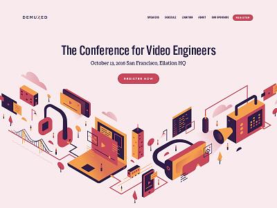 Demuxed Website illustration engineer video poster logo web website demuxed
