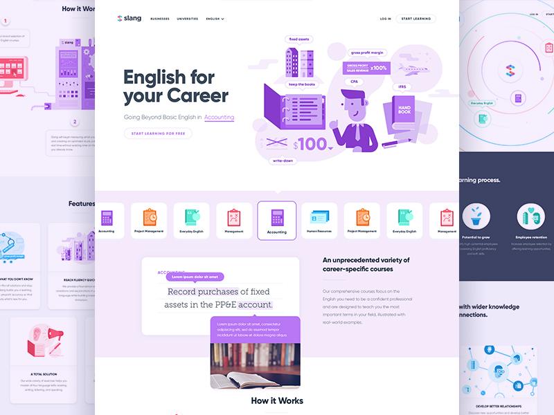 Slang app website and illustration