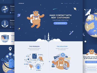 Interseller Website planet illustration rocket interstellar exploration stars spacebear space interseller