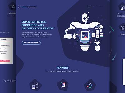 Processor.ai image processor icon robot illustration website web design