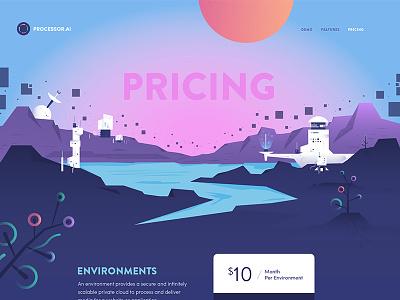 Processor pricing image processor icon robot illustration website web design
