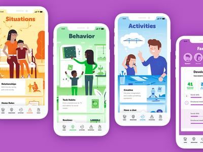 Family5 app icon design icon parenting branding app design illustration family
