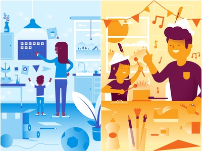 Family5 illustrations vector illustration app activities parenting family