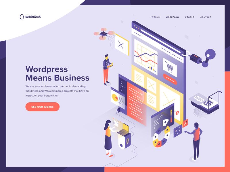Kehittamo Website Home marketing website finland wordpress design website illustration
