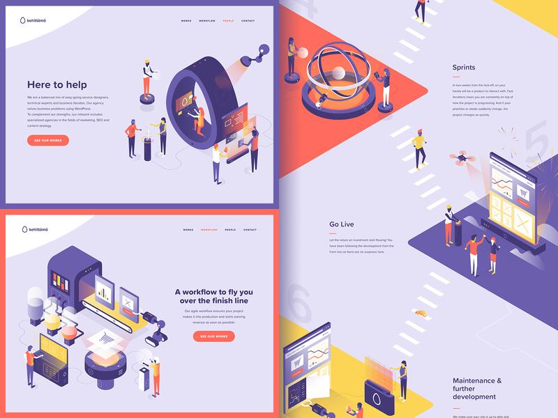Kehittamo web pages wordpress vector website design illustration