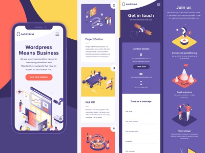 Kehittamo mobile screens illustration website web design vector ui phone mobile wordpress