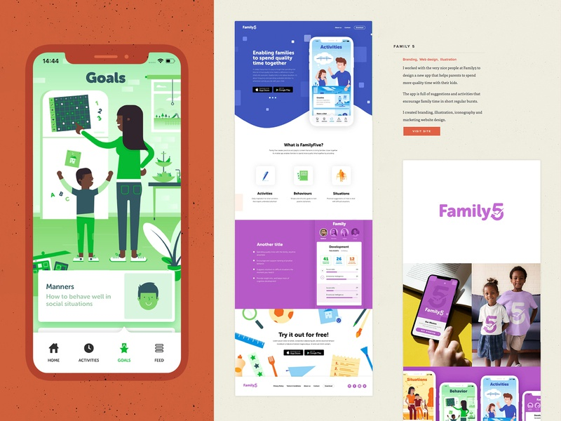 Portfolio update - Family5 typography design app web branding vector ui website illustration