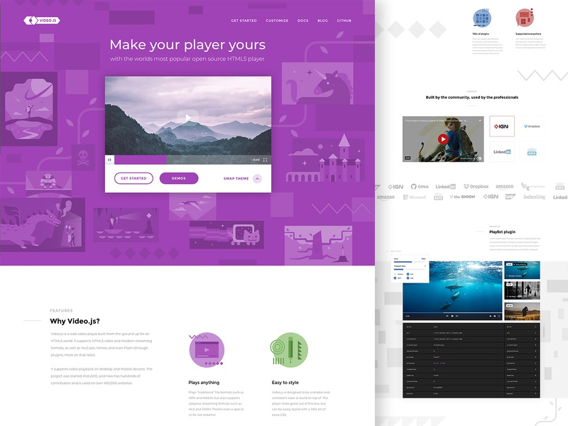 Video JS website design texture illustration