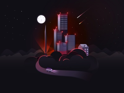 City Night buiding night city illustration