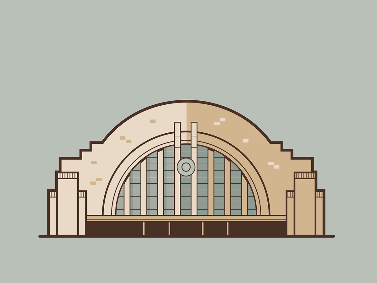 Union Terminal Cincinnati super friends justice league hall of justice icon architechture art cincinnati flat 2d vector illustrator illustration