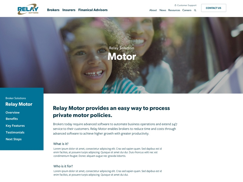 Relay Motor for Brokers - Solution Page tablet mobile sticky nav features clean white blue software