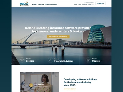 Relay Software Homepage corporate blue insurance homepage