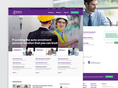 Workers Pension Trust responsive mobile web design website homepage purple pension