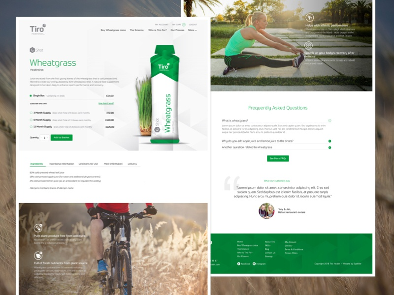 Product Page green product ecommerce magento wheatgrass product page