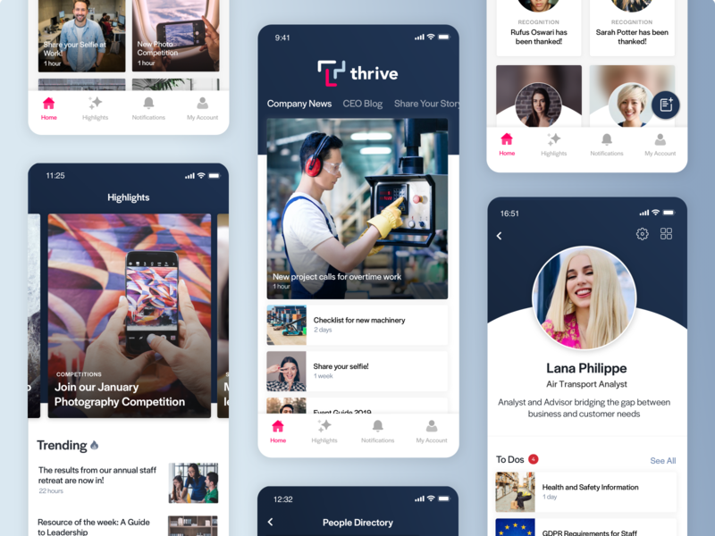 Thrive - Better Employee Communication content lists feed highlights profile employees employee engagement internal comms comms employee thrive mobile app