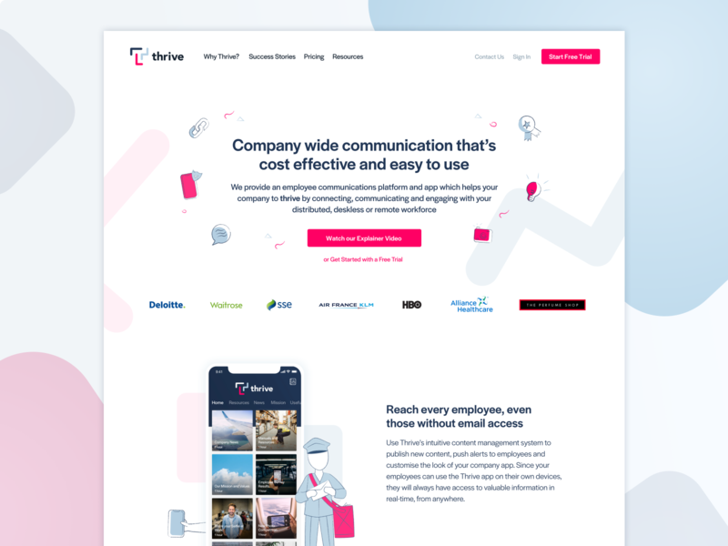 Say hi to Thrive! illustration shapes internal comms marketing website employee app theapbuilder thrive