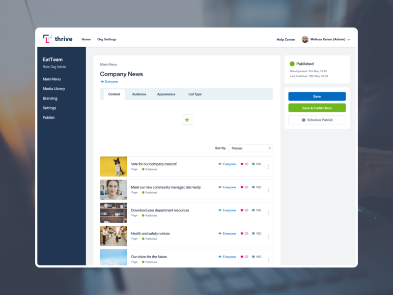Thrive App CMS platform enterprise thrive content management system cms