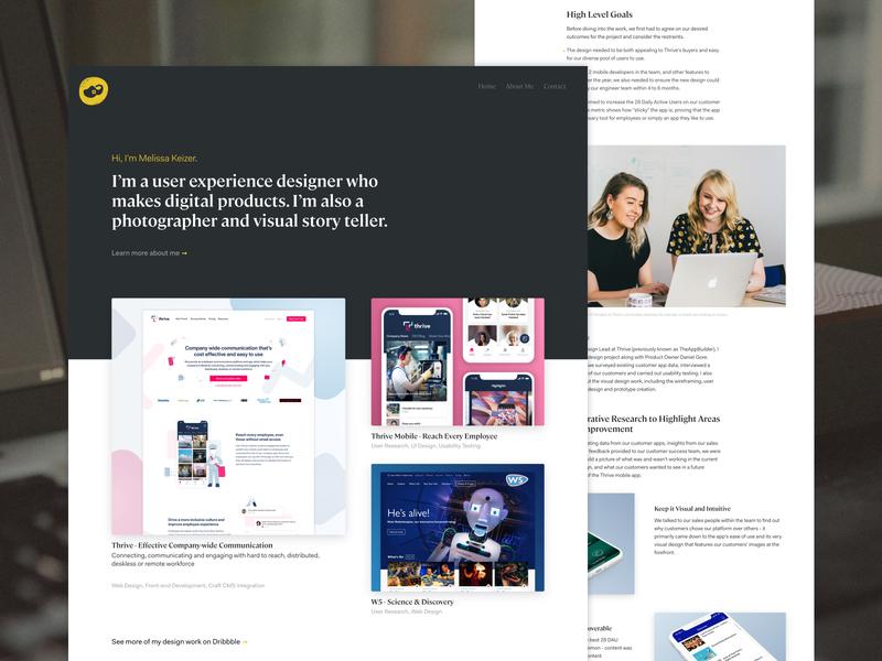 Portfolio for 2020 belfast casestudy homepage designer portfolio melissa keizer clog webdesign personal website personal portfolio