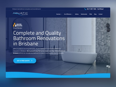 Aquatic Bathrooms ui wordpress website web design web gold coast digital marketing design australia adobe xd