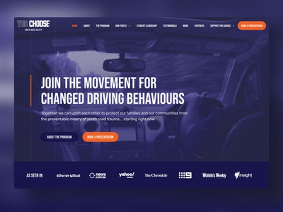 YOU CHOOSE - Youth Road Safety ui wordpress website web design web gold coast digital marketing design australia adobe xd