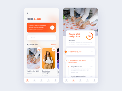 Online courses app clean branding creative ux ui concept design app