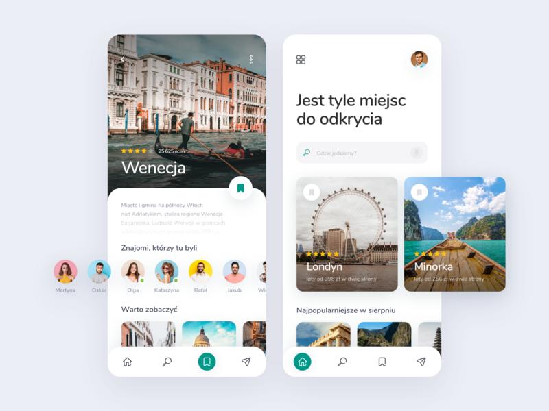 Travel mobile app concept podróże travel app travelling travel explorations branding app design 2020 design creative concept clean app