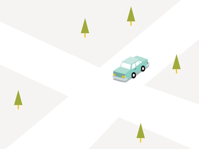 Car Illustration car trees crossroad illustration simple graphic birds-eye view
