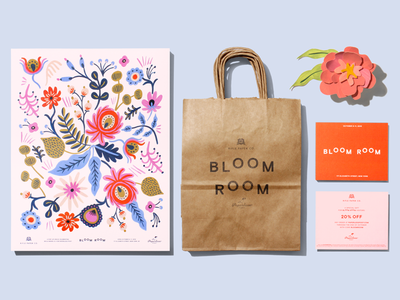 Bloom Room print collateral branding print collateral flowers postcard kraft bag poster paperless post rifle paper co.